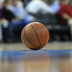 06 February 2009: A basketball sits on the court during a break in the action  during a 101-92 win by the New Orleans Hornets over the Toronto Raptors at the New Orleans Arena in New Orleans, LA.