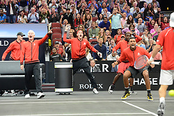 September 21, 2018 - Chicago, Illinois, United States - Team World cheers on Diego Schwartzman during his singles match vs. D. Goffin in the 2018 Laver Cup tennis event in Chicago. (Credit Image: © Christopher Levy/ZUMA Wire)