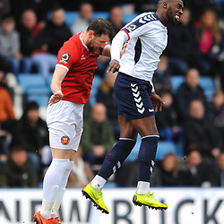 TELFORD COPYRIGHT MIKE SHERIDAN 9/3/2019 - Amari Morgan Smith of AFC Telford battles for a header during the National League North fixture between AFC Telford United and FC United of Manchester (FCUM) at the New Bucks Head Stadium