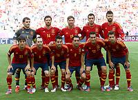 Foball , 10. juni 2012 , Euro , Spania - Italia<br />  Iker Casillas, Xabi Alonso, Sergio Ramos, Sergio Busquets, Gerard Pique (hinten von links); David Silva, Andres Iniesta, Cesc Fabregas, Xabi Hernandez, Alvaro Arbeloa und Jordi Alba <br /> lagbilde<br /> Norway only