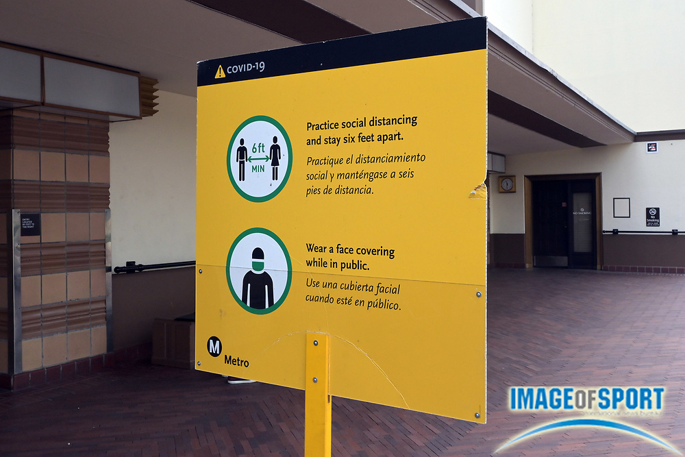 A Metro social distancing and face mask requirement sign amid the coronavirus COVID-190 pandemic at Los Angeles Union Station passenger terminal, Tuesday, Sept. 15, 2020, in Los Angeles.