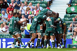 London Irish players celebrate Brendan McKibbin's match-winning try - Mandatory byline: Patrick Khachfe/JMP - 07966 386802 - 02/09/2017 - RUGBY UNION - Twickenham Stadium - London, England - London Irish v Harlequins - Aviva Premiership