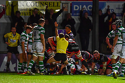 Dragons score there first try<br /> <br /> Photographer Craig Thomas/Replay Images<br /> <br /> EPCR Champions Cup Round 4 - Newport Gwent Dragons v Newcastle Falcons - Friday 15th December 2017 - Rodney Parade - Newport<br /> <br /> World Copyright © 2017 Replay Images. All rights reserved. info@replayimages.co.uk - www.replayimages.co.uk