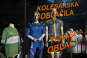 Sports clothing mannequins in a shop window on Dunajska Cesta street in the Slovenian capital, Ljubljana, on 27th June 2018, in Ljubljana, Slovenia.