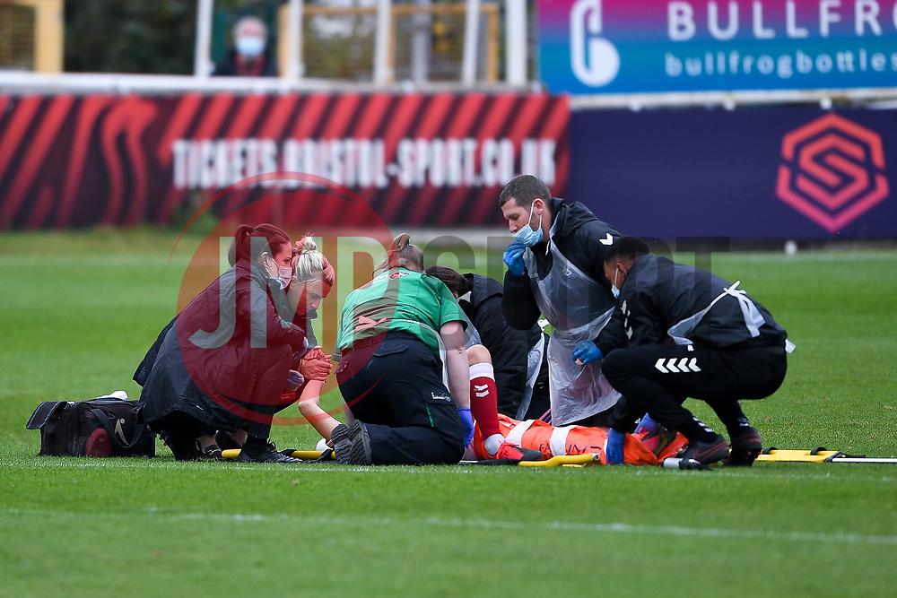 Tanya Oxtoby manager of Bristol City Women comforts Aimee Palmer of Bristol City Women as she leaves the field on a strecher - Mandatory by-line: Ryan Hiscott/JMP - 18/10/2020 - FOOTBALL - Twerton Park - Bath, England - Bristol City Women v Birmingham City Women - Barclays FA Women's Super League