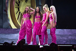 Little Mix on stage at the Brit Awards 2019 at the O2 Arena, London. Photo credit should read: Matt Crossick/EMPICS Entertainment. EDITORIAL USE ONLY