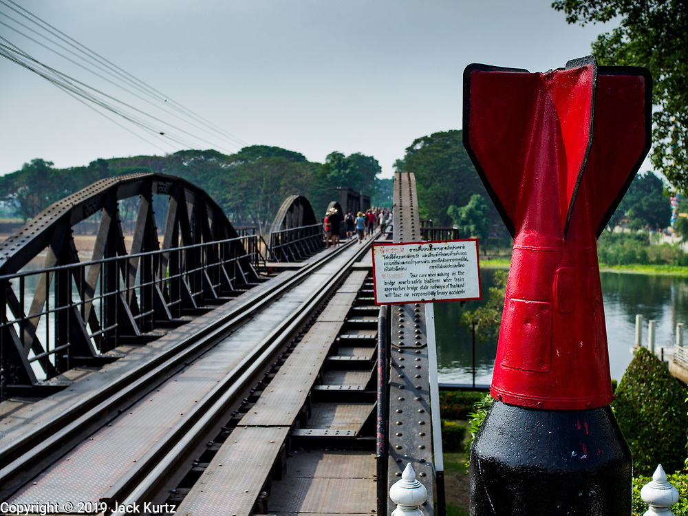 "09 JANUARY 2019 - KANCHANABURI, THAILAND: A dummy World War II bomb near the ""Bridge On the River Kwai"" in Kanchanaburi. Hundreds of thousands of Asian slave laborers and Allied prisoners of war died in World War II constructing the ""Death Railway"" between Bangkok and Rangoon (now Yangon), Burma (now Myanmar) for the Japanese during World War II.  The bridge is now one of the most famous tourist attractions in Thailand.      PHOTO BY JACK KURTZ"