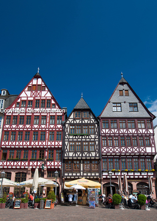 Romer Square with historic timbered houses   at Frankfurt am Main in old town Germany