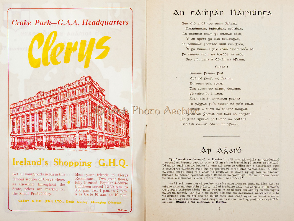 All Ireland Senior Hurling Championship Final,.Programme, .04.09.1955, 09.04.1955, 4th September 1955,.Galway 2-8, Wexford 3-13,.Minor Galway v Tipperary, .Senior Galway v Wexford,.Croke Park,..Advertisements, Clery's Ireland's Shopping GHQ,