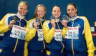 4x100 Medley relay women<br /> Team Sweden   COLEMAN Michelle, JOHANSSON Jennie,<br /> SJOSTROM Sarah, HANSSON Louise silver medal<br /> Swimming Nuoto Kazan Arena<br /> Day17 09/08/2015  FINALS<br /> XVI FINA World Championships Aquatics <br /> Kazan Tatarstan RUS July 24 - Aug. 9 2015 <br /> Photo G.Scala/Deepbluemedia/Insidefoto