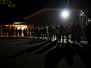 With turnout steady throughout the day and the nighttime arriving earlier with the end of daylight saving time, voters in Belleville, Pennsylvania patiently waited close to two hours under a starlit sky.