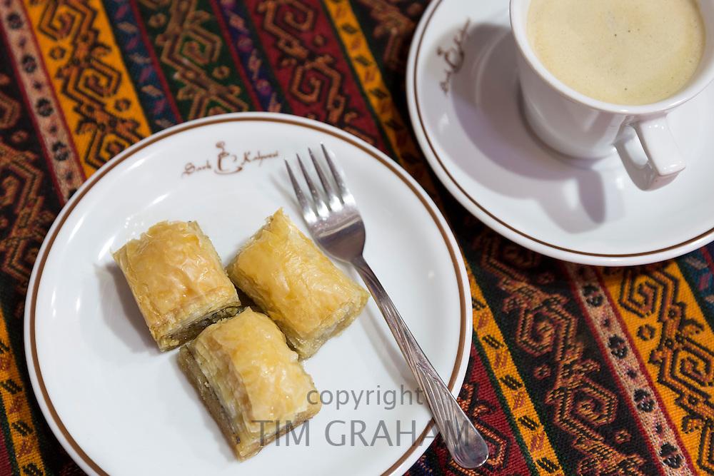 Turkish coffee and baklava honey filo pastry at Sark Kahvesi cafe in The Grand Bazaar Kapalicarsi great market, Istanbul, Turkey