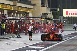 April 8, 2018 - Sakhir, Bahrain - RAIKKONEN Kimi (fin), Scuderia Ferrari SF71H, retiring from the race after hitting a mechanic during his pitstop during 2018 Formula 1 FIA world championship, Bahrain Grand Prix, (Credit Image: © Hoch Zwei via ZUMA Wire)
