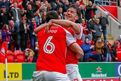 Richard Wood of Rotherham United celebrates his goal with Joe Newell of Rotherham United - Mandatory by-line: Ryan Crockett/JMP - 07/04/2018 - FOOTBALL - Aesseal New York Stadium - Rotherham, England - Rotherham United v Fleetwood Town - Sky Bet League One