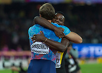 Athletics - 2017 IAAF London World Athletics Championships - Day Four, Evening Session<br /> <br /> Mens 110m Hurdles Final<br /> <br /> Omar McLeod (Jamaica) congratulates Segey Shubenkov (authorised Neutral Athlete) on coming in second place after he won the 110m hurdle final<br /> <br /> at the London Stadium<br /> <br /> COLORSPORT/DANIEL BEARHAM