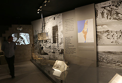 November 9, 2016 - Ramallah, West Bank, Palestinian Territory - A picture shows a general view of an artefact-filled display in a hallway at the late Palestinian leader Yasser Arafat's Museum in the West Bank city of Ramallah on November 9, 2016. The Yasser Arafat Museum opened in Ramallah, shedding light on the long-time Palestinian leader's life and offering a glimpse of history -- along with a number of his trademark black-and-white keffiyehs  (Credit Image: © Shadi Hatem/APA Images via ZUMA Wire)