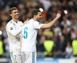 May 1, 2018 - Madrid, Spain - Nacho Fernandez and Cristiano Ronaldo (L) of Real Madrid celebrate victory after the UEFA Champions League Semi Final Second Leg match between Real Madrid and Bayern Muenchen at the Bernabeu on May 1, 2018 in Madrid, Spain. (Credit Image: © Raddad Jebarah/NurPhoto via ZUMA Press)