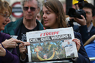 Sir Bradley Wiggins fan with copy of L'Equipe during the London Stage of the Aviva Tour of Britain, Regent Street, London, United Kingdom on 13 September 2015. Photo by Ellie Hoad.