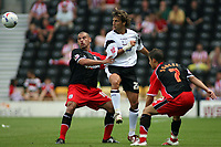 Photo: Rich Eaton.<br /> <br /> Derby County v Southampton. Coca Cola Championship.<br /> <br /> 06/08/2006. Derbys Inigo Idiakez (centre) clears the ball from midfield