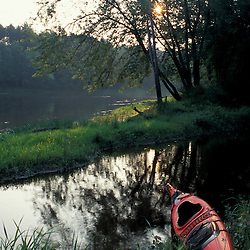 Canterbury, NH.Kayak on the east bank of the Merrimack River.  Gold Star Farm, Canterbury, New Hampshire. Silver Maple floodplain forest.
