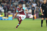 GOAL - Dimitri Payet of West Ham United scores his teams 1st goal  from a free kick in added time. EFL Cup, 3rd round match, West Ham Utd v Accrington Stanley at the London Stadium, Queen Elizabeth Olympic Park in London on Wednesday 21st September 2016.<br /> pic by John Patrick Fletcher, Andrew Orchard sports photography.