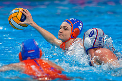 Maud Megens #2 of Netherlands during the semi final Netherlands vs Russia on LEN European Aquatics Waterpolo January 23, 2020 in Duna Arena in Budapest, Hungary