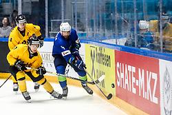 Ilja Cetvertak of Lithuania and Nerijus Alisauskas of Lithuania vs Aleksandar Magovac of Slovenia during ice hockey match between Slovenia and Lithuania at IIHF World Championship DIV. I Group A Kazakhstan 2019, on May 5, 2019 in Barys Arena, Nur-Sultan, Kazakhstan. Photo by Matic Klansek Velej / Sportida