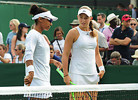Tennis - 2017 Wimbledon Championships - Week One, Thursday [Day Four]<br /> <br /> Womens Doubles, Second Round match<br /> Jocelyn Rae and Laura Robson (GBR) v Raquel Atawo (USA) and Jelea Ostapenko (LAT)<br /> <br /> Raquel Atawo (left) returns to the court with a white top after being asked by the Wimbledon Ofiicials to leave the court and change her top which is not standard white on Court 5<br /> <br /> COLORSPORT/ANDREW COWIE