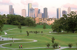 Stock photo of a park with a western view of the Houston skyline
