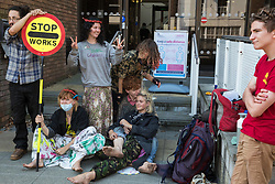 High Wycombe, UK. 10th August, 2020. Young environmental activists from HS2 Rebellion prepare to attend a hearing at High Wycombe Magistrates Court. The activists, who are predominantly teenage and who are opposed to the controversial HS2 high-speed rail link, had been arrested whilst standing on a bridge on a public footpath in Denham Country Park by police officers using the Trade Union and Labour Relations Act.