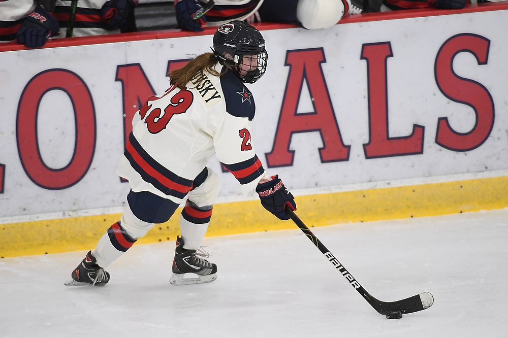 PITTSBURGH, PA - DECEMBER 03: Ellie Marcovsky #23 of Robert Morris Colonials skates with the puck in the second period during the game against the Lindenwood Lions at Clearview Arena on December 3, 2020 in Pittsburgh, Pennsylvania. (Photo by Justin Berl/Robert Morris Athletics)