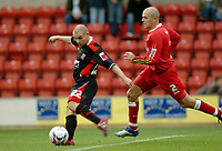 Photo: Kevin Poolman.<br />Swindon Town v Lincoln City. Coca Cola League 2. 28/10/2006. Lincoln's Jamie Forrester scores their first goal.