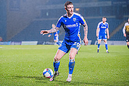Gillingham FC midfielder Scott Robertson (20) keeps possession during the EFL Sky Bet League 1 match between Gillingham and Crewe Alexandra at the MEMS Priestfield Stadium, Gillingham, England on 26 January 2021.