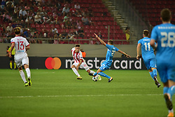 August 16, 2017 - Piraeus, Attiki, Greece - Panagiotis Retsos (no 45) of Olympiacos and Josip Misic (no 27) of HNK Rijeka vies for the ball..Olympiacos manage to win 2-1 against HNK Rijeka in the first game for the UEFA Champions League play-offs, despite the fact that HNK Rijeka has achieved goal first. After this match the attention of the both team is going to focus to the rematch. (Credit Image: © Dimitrios Karvountzis/Pacific Press via ZUMA Wire)
