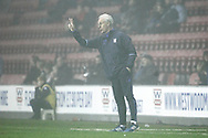 Ipswich Manager Mick McCarthy tries to get the instructions out into the mist during the EFL Sky Bet Championship match between Wigan Athletic and Ipswich Town at the DW Stadium, Wigan, England on 17 December 2016. Photo by Craig Galloway.
