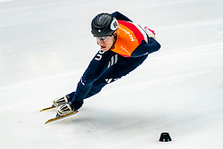 Friso Emons in action on the 1500 meter during ISU World Cup Finals Shorttrack 2020 on February 15, 2020 in Optisport Sportboulevard Dordrecht.