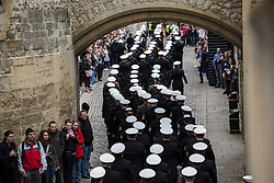 © licensed to London News Pictures. London, UK 10/05/2013. Over 250 members of the Ship's Company from HMS Illustrious, HMS Edinburgh and HMS Blythe parading at the Tower of London. For the first time three Navy ships take part in the historic ceremony of the Constable's Dues as part of the 70th Anniversary of the Battle of the Atlantic. Photo credit: Tolga Akmen/LNP