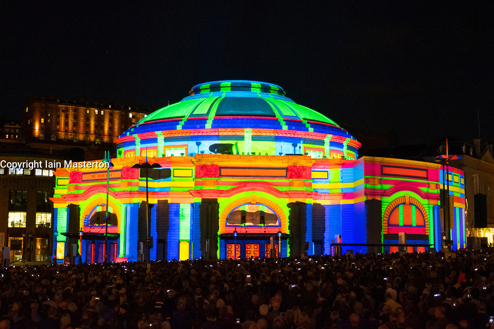 Edinburgh, Scotland, UK; 3 August, 2018. The light spectacular known as Five Telegrams took place at  the Usher Hall to open the 2018 Edinburgh International Festival.  Projections were designed by 59 Productions and music was composed  by Anna Meredith