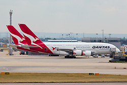 © under license to London News Pictures.FILE PHOTO QANTAS Airbus A380 Aircraft at London Heathrow<br /> <br /> Photo credit should read IAN SCHOFIELD/LNP