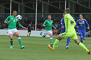 Adam Idah of Republic of Ireland (9) and Luka Kacavenda of Bosnia and Herzegovina (1) during the UEFA European Under 17 Championship 2018 match between Bosnia and Republic of Ireland at Stadion Bilino Polje, Zenica, Bosnia and Herzegovina on 11 May 2018. Picture by Mick Haynes.