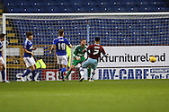 Andre Gray of Burnley shoots wide of the goal. Skybet football league Championship match, Burnley v Ipswich Town at Turf Moor in Burnley, Lancs on Saturday 2nd January 2016.<br /> pic by Chris Stading, Andrew Orchard sports photography.