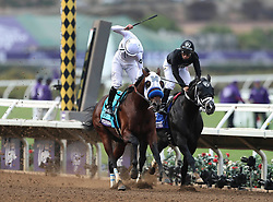 November 3, 2017 - Del Mar, CA, USA - DEL MAR, November 3, 2017   Battle of Midway, left, with jockey Flavien Prat edges out Sharp Azteca with jockey Paco Lopez to win the seventh race during the Breeders' Cup at the Del Mar racetrack in Del Mar on Friday.   Photo by Hayne Palmour IV/San Diego Union-Tribune/Mandatory Credit: HAYNE PALMOUR IV/SAN DIEGO UNION-TRIBUNE/ZUMA PRESS San Diego Union-Tribune Photo by Hayne Palmour IV copyright 2017 (Credit Image: © Hayne Palmour Iv/San Diego Union-Tribune via ZUMA Wire)
