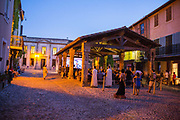 Evening piano concert attended by the village in the medieval square, 19th July 2015, Lagrasse France.