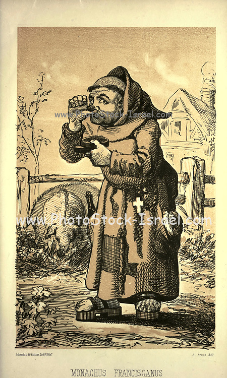 """Franciscan Monk - Monachus Franciscanus from the book ' Monachologia, or, Handbook of the natural history of monks : arranged according to the Linnean system ' by Born, Ignaz Edler von, 1742-1791; Krasinski, Walerian, 1780-1855 Published in 1852 in Edinburgh by Johnstone & Hunter. This is a  Victorian anti-Catholic/anti-European satire or parody written in pseudo-scientific natural history jargon, complaining of the laziness, odd dress & weird habits (literally!), strange hours & stranger noises of various orders of monks, deposited of British shores by Papist Europeans of little merit and bad intent. Each major order of Monk is depicted & described in most unflattering terms. """"Hence it is evident, that the monk forms a distinct class of mammalia, which holds a middle place, and forms a connecting link between man and monkey."""""""