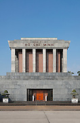 """Facade of the Ho Chi Minh Mausoleum """"Ch? t?ch H? Chí Minh"""" inscribed across it, meaning """"President Ho Chi Minh"""" , Ba Dinh Square Hanoi, Vietnam"""