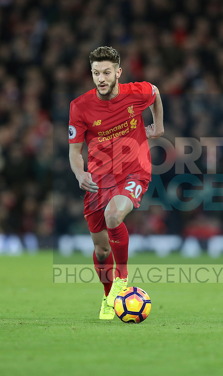 Adam Lallana of Liverpool during the English Premier League match at Anfield Stadium, Liverpool. Picture date: December 31st, 2016. Photo credit should read: Lynne Cameron/Sportimage