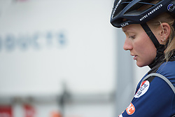 Miriam Bjørnsrud (Hitec Products) prepares for  Strade Bianche - Elite Women. A 127 km road race on March 4th 2017, starting and finishing in Siena, Italy. (Photo by Sean Robinson/Velofocus)