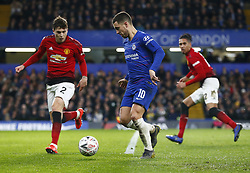 February 18, 2019 - London, United Kingdom - L-R Manchester United's Victor Lindelof and Chelsea's Eden Hazard.during FA Cup Fifth Round between Chelsea and Manchester United at Stanford Bridge stadium , London, England on 18 Feb 2019. (Credit Image: © Action Foto Sport/NurPhoto via ZUMA Press)