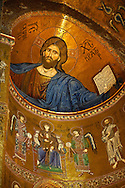 Byzantine mosaics of Jesus Christ in the Cathedral of Monreale - Palermo - Sicily Pictures, photos, images & fotos photography .<br /> <br /> If you prefer you can also buy from our ALAMY PHOTO LIBRARY  Collection visit : https://www.alamy.com/portfolio/paul-williams-funkystock/monrealeduomomosaics.html. Refine search by adding subject etc  into the LOWER SEARCH WITHIN GALLERY box. <br /> <br /> Visit our BYZANTINE MOSAIC PHOTO COLLECTION for more   photos  to download or buy as prints https://funkystock.photoshelter.com/gallery-collection/Roman-Byzantine-Art-Artefacts-Antiquities-Historic-Sites-Pictures-Images-of/C0000lW_87AclrOk