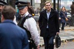 London, UK. 16 November, 2019. Seumas Milne, Executive Director of Strategy and Communications, arrives at Labour's Clause V meeting. The Clause V meeting, chaired by the party leader and attended by members of the National Executive Committee (NEC), relevant Shadow Cabinet members and members of the National Policy Forum, will finalise the party's general election manifesto. The meeting is named after Clause V of the Labour Party rulebook. Credit: Mark Kerrison/Alamy Live News